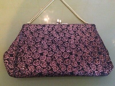 Vintage Metallic Brocade Purse. , Handbag , 50s 60s ,Pinup , Rockabilly