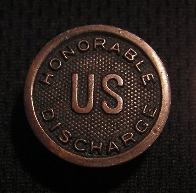 WWI US HONORABLE DISCHARGE BUTTON STUD PIN (Not Collar Disc) WW1 Military - RARE