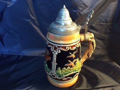 "Ceramic Beer Stein With Lid Approx 7"" Tall Unknown Maker"