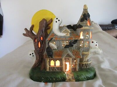1988 Lighted Halloween Ceramic Spooky Haunted House Ghosts, Bats, Black Cats BOO