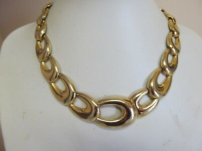 Gold Tone Graduated Wide Link Chain Necklace 18""