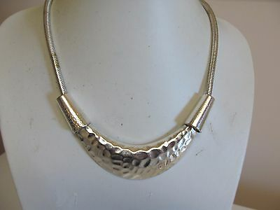 "Hammered Silver Tone Bib Necklace On Thick 18"" Snake Chain"