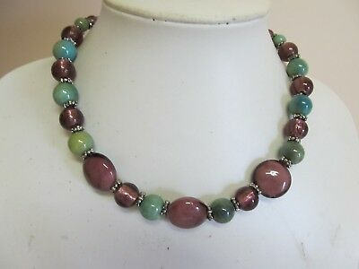 "Colorful Graduated Glass Bead 16"" Necklace"