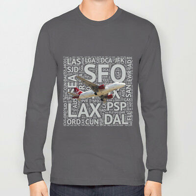 Virgin America Airbus A319 with Airport Codes - T-Shirt (Unisex)