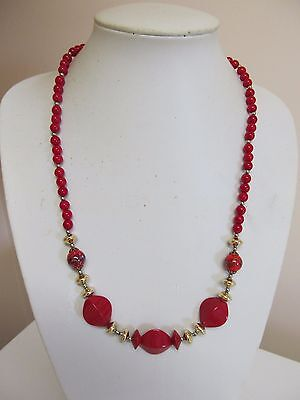 "Vintage Red & Gold Tone 24"" Multi Bead Necklace"