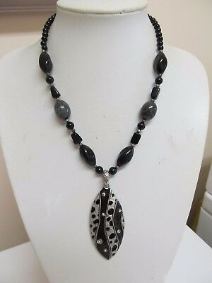 Enamel & Rhinestone Pendant Necklace in Black & Silver Tone