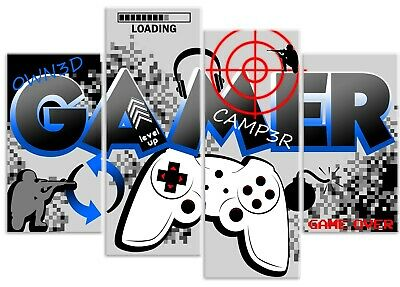 Boys Gamer Quote Computer Controller Gaming 4 Panel Canvas Art Print Picture
