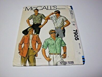Uncut Retro 80's Men's Shirt Sewing Pattern 4 Variations Chest 40 McCall's 7905