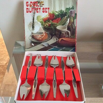 Vintage 1970s? 6 Stainless Steel Buffet Fork Set Made In Japan Boxed