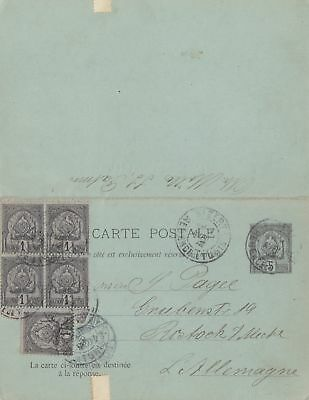 French colonies: 1902 carte postale to Rostock