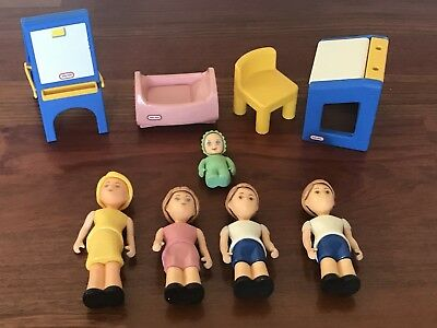 Vintage Little Tikes Dollhouse Furniture U0026 People Baby Mom Sister Brothers  More