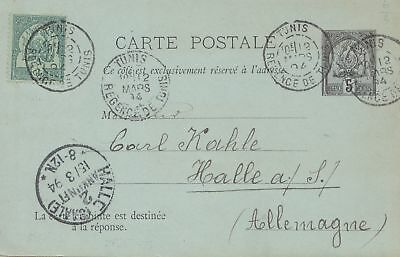 French colonies: Tunisie 1894: post card to Halle
