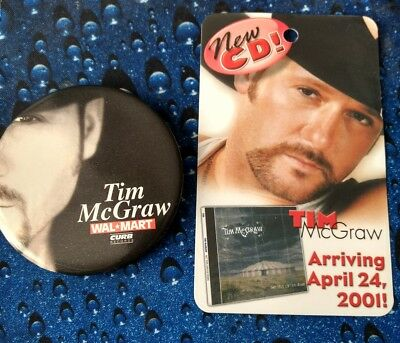 bf8c9ecab34 COUNTRY MUSIC SINGER Tim McGraw Advertising Button with Card -  3.00 ...