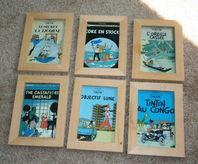 The Adventures Of Tin Tin By Herge Books Cover Postcards Framed (2) Decor Framed