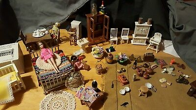 Vintage Lot of Miniature Dollhouse Wooden Furniture and Accessories Lot