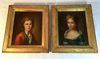 Pair of Antique 18th Century French Children Portraits