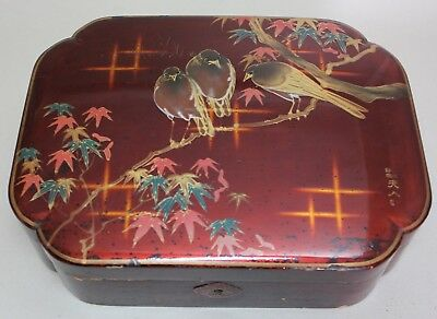 Antique JAPAN Japanese LACQUER Large Signed WOODEN BOX with BIRDS and FLOWERS