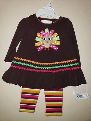 Bonnie Jean Baby Girls Turkey Applique Thanksgiving Party Outfit 6-9 Months