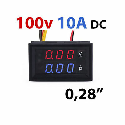 Voltmetro Amperometro 100v 10A con Display LCD Digitale Rosso y Blu tester dual