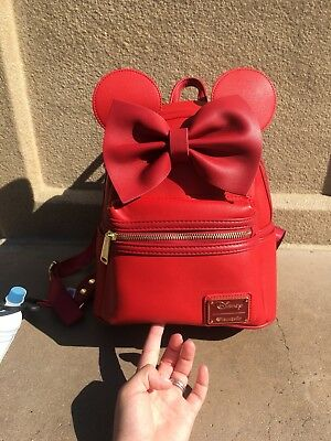 Disney Parks Minnie Mouse Rose Gold Ears Sequined Loungefly Backpack New Version
