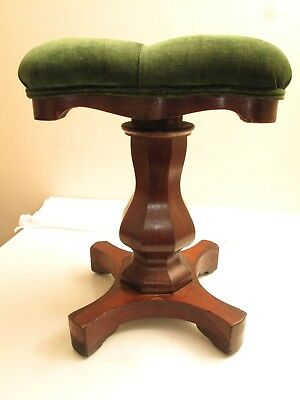Antique Victorian Piano Stool Green Velvet Cushion Empire 1800S Rosewood Adjusts