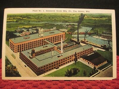 Plant No. 1, Aluminum Goods Mfg. Co. Two Rivers, Wisconsin. Antique Postcard.