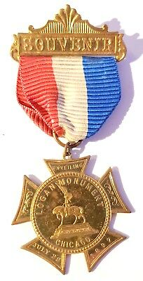 VERY RARE  -   LOGAN MONUMENT CHICAGO  MEDAL SOUVENIR JULY 22 1897 Unveiling