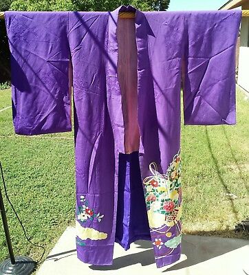 Vintage Japanese Silk Hand-Painted Hand-Stitched Kimono Robe Purple Extra-Long