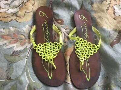 7a9f70660 MADELINE LADIES LIME Green Leather Slide Summer Sandals Size 8.5 M ...