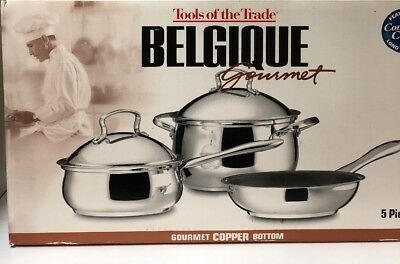 NIB Belgique Gourmet Copper Bottom 5 Pc Tools Of Trade Casserole Saucepan Pan