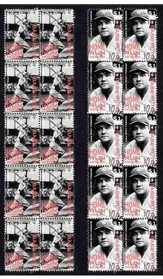 Babe Ruth New Yor Yankees H/run Heroes Mint Vignette Stamps 1