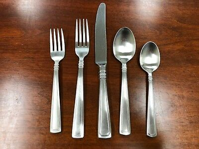 Longaberger Stainless Steel Woven Traditions Flatware 5-Piece Place Setting  USA