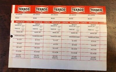 Vintage TEXACO Gas Service Station Reminder Tag Stickers Oil Change 5 Tag Sheet