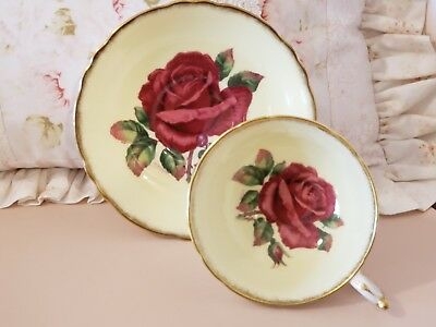 Gorgeous Pale Yellow Paragon Red Rose TeaCup and Saucer