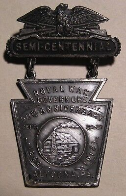 1912 Loyal War Governors 50Th Anniversary Medal Altoona Pa - Civil War Gar Union