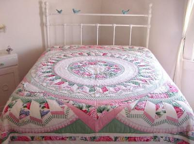 Vtg Arch NY Hand Stitched Pink Green Roses Lace Trim Batted Cotton Quilt 82x80