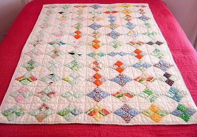 Vtg 1940s Hand Stitched 4 Square Diamond Baby Crib Batted Cotton Quilt 54x34
