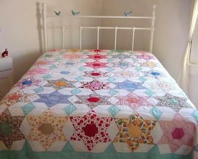Vtg 1940s Hand Stitched 6 Point Star Batted Cotton Quilt 86x80