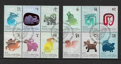 CHRISTMAS ISLAND 2009 Year of the Ox, set of 12, used, first day cancel