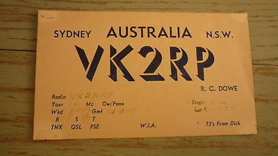 Old Australian Ham Qsl Radio Card, 1947 Lindfield New South Wales Vk2Rp