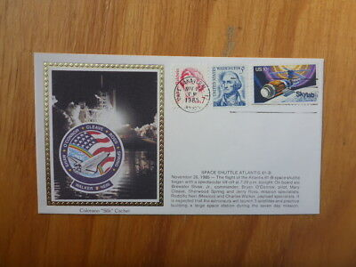 Vintage Usa Colorano Silk Illustrated Space Fdc - Atlantis 61-B Shuttle Launch