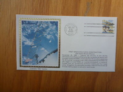 Vintage Usa Colorano Silk Illustrated Space Fdc - First Space Walk Construction