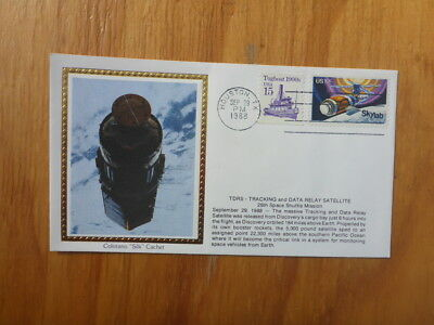 Vintage Usa Colorano Silk Illustrated Space Fdc - Tracking & Data Satellite