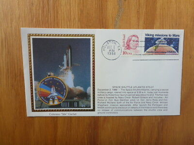 Vintage Usa Colorano Silk Illustrated Space Fdc - Atlantis Sts-27 Shuttle Launch