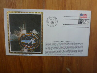 Vintage Usa Colorano Silk Illustrated Space Fdc- Shuttle Discover 51-A