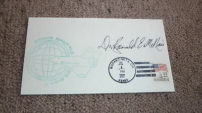 CHALLENGER ASTRONAUT RONALD McNAIR HAND SIGNED SPACE SHUTTLE COVER