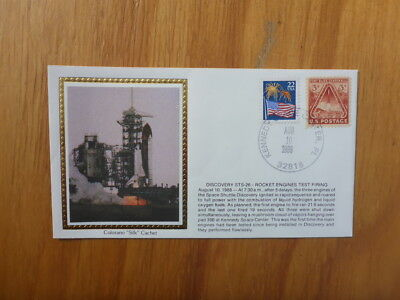 Vintage Usa Colorano Silk Illustrated Space Fdc - Discovery Sts-26 Rocket Test