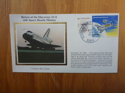 Vintage Usa Colorano Silk Illustrated Space Fdc- Discover 51-A Mission