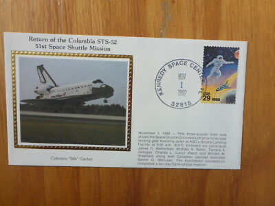 Vintage Usa Colorano Silk Illustrated Space Fdc - Columbia Sts-52 Shuttle