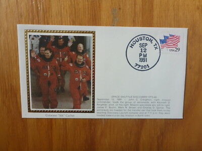 Vintage Usa Colorano Silk Illustrated Space Fdc - Discovery Sts-48 Shuttle Crew